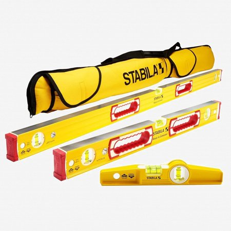 Stabila 48370 Type 196 Heavy Duty Classic Level Set, 3 Levels with Case Aluminum Heavy Duty Level