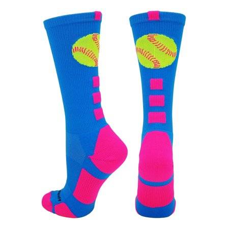 Softball Logo Crew Socks (Electric Blue/Neon Pink, Medium) - Electric Blue/Neon Pink,Medium (Youth Softball Socks)