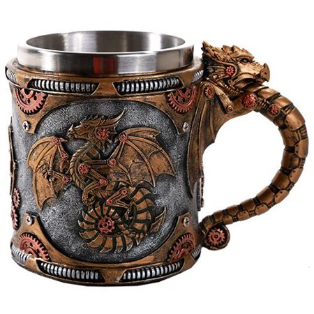 Steampunk Mechanical Gearwork Dragon Beer Stein Tankard Decor Gift 13oz