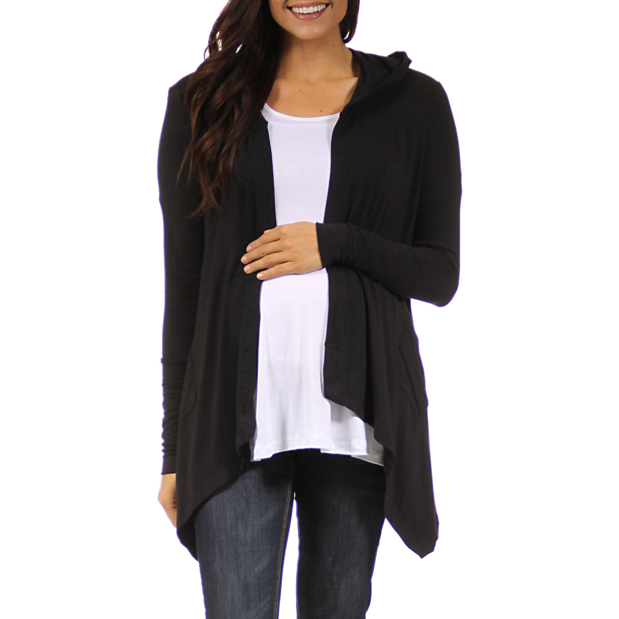 24/7 Comfort Apparel Women's 2-Pocket Hooded Maternity Shrug