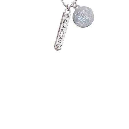 Guardian Angel Bar Stronger Braver Smarter Engraved Necklace - Guardian Angel Necklace