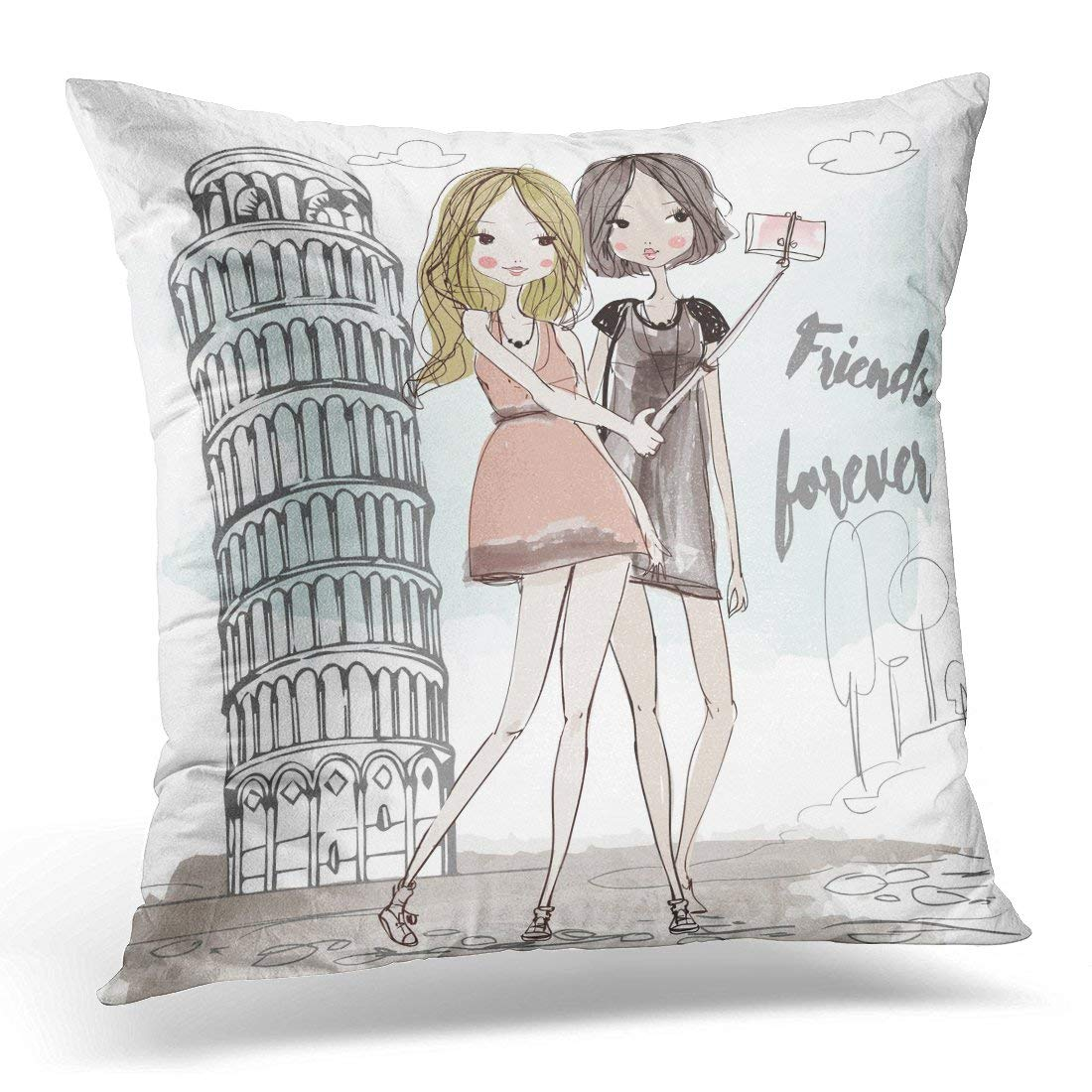 ARHOME Colorful Teen Cute Cartoon Girls Hipster Pillow Case Pillow Cover 20x20 inch