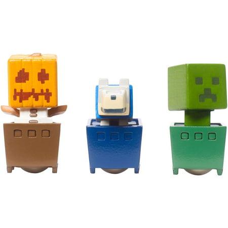 Minecraft Minecart Mini-Figure Pumpkin, Wolf, And Creeper 3-Pack
