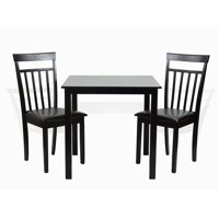 SK New Interiors Dining Kitchen Set of 3 Square Table and 2 Classic Wood Chairs Warm, Espresso