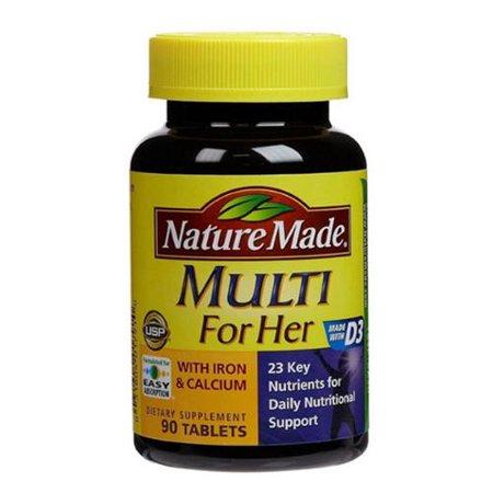 Nature Made multi pour elle avec fer et calcium 90 ch (pack de 2)