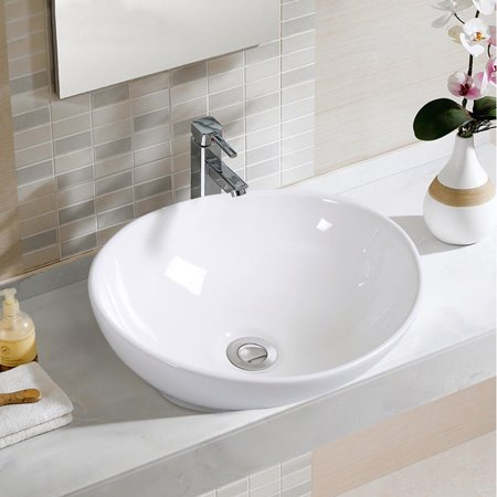 Costway Oval Bathroom Basin Ceramic Vessel Sink Bowl Vanity Porcelain w/ Pop Up Drain