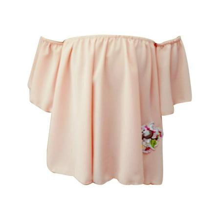 Girls Peach Flower Patch Off Shoulder Large Sleeve Blouse - Flower Girl Tops