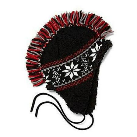 a6b065b98a6 Arizona Boys Red   Black Mohawk Hat Fringe Snowflake Aviator Trapper -  Walmart.com