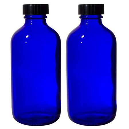 Cobalt Blue Glass Boston Round Bottle with Black Phenolic Cone Lined Cap - 8 oz (2 (Phenolic Bottle Cap)