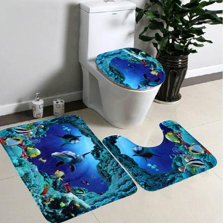 Large Size 3Pcs Non-Slip Shark Sea World Pedestal Floor Rug + Lid Toilet Cover