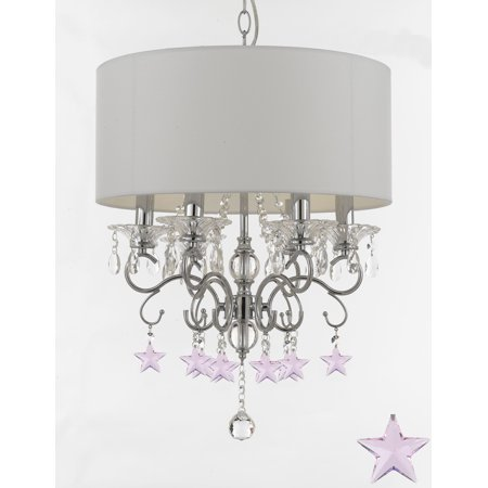 Silver Mist Crystal Drum Shade Chandelier Lighting with Pink Crystal Stars