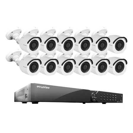 LaView 16 Channel DVR Security System W/12 HD 1080P Indoor/Outdoor Surveillance Cameras- Built in Storage 2TB HDD, Motion Detection, Remote View, Instant Mobile Notifications/Alerts