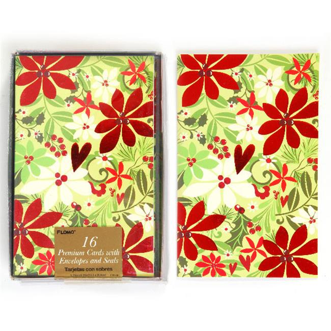 DDI 2127658 Flower Print Boxed Christmas Cards - Count of...