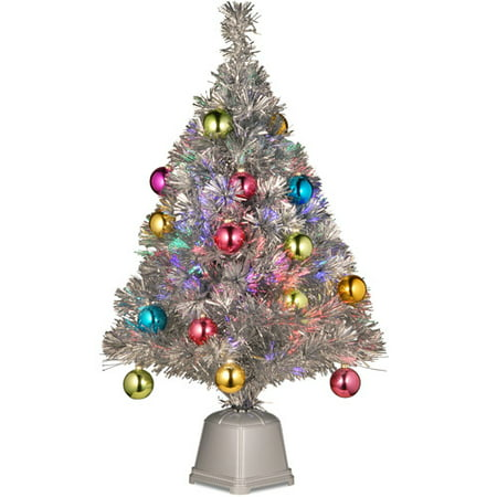 national tree pre lit 32 fiber optic fireworks silver tinsel artificial christmas tree with - Christmas Tree Tinsel