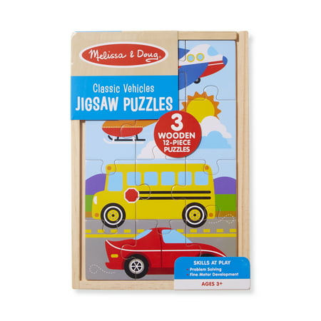 - Melissa & Doug Classic Vehicles Wooden Jigsaw Puzzles in a Box - 3 puzzles, 12 pcs each