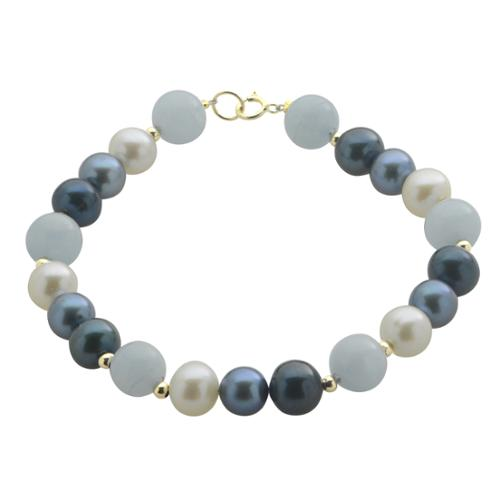 Imperial-Deltah Pearls For You 14k Yellow Gold Freshwater Pearl and Aquamarine 7.5-inch Bracelet (7-7.5 mm) by Overstock