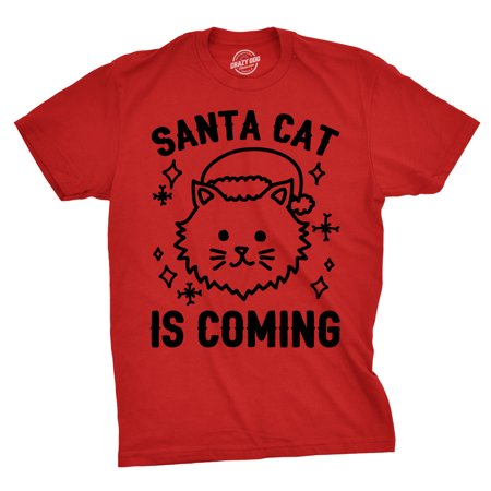 Mens Santa Cat Is Coming Tshirt Funny Pet Owner Christmas Hat Tee