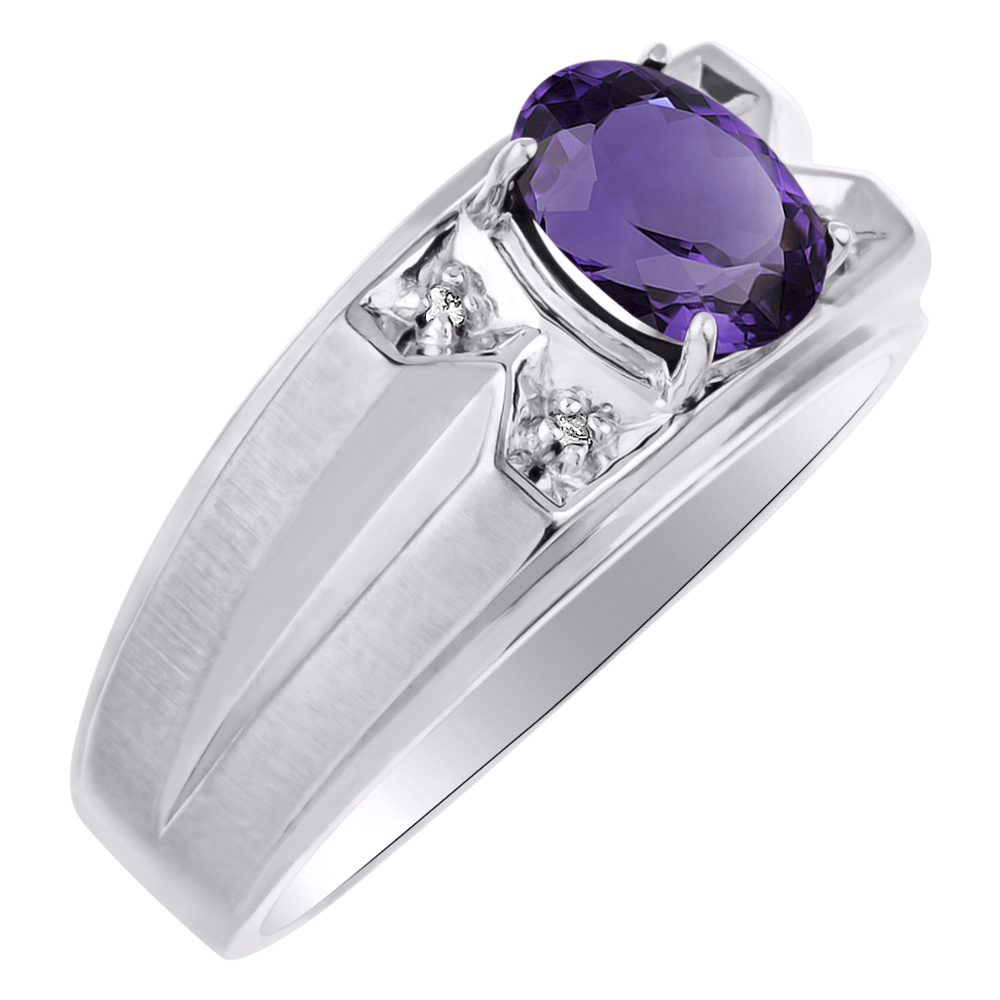 Diamond & Amethyst Ring Sterling Silver or Yellow Gold Plated by Elie Int.