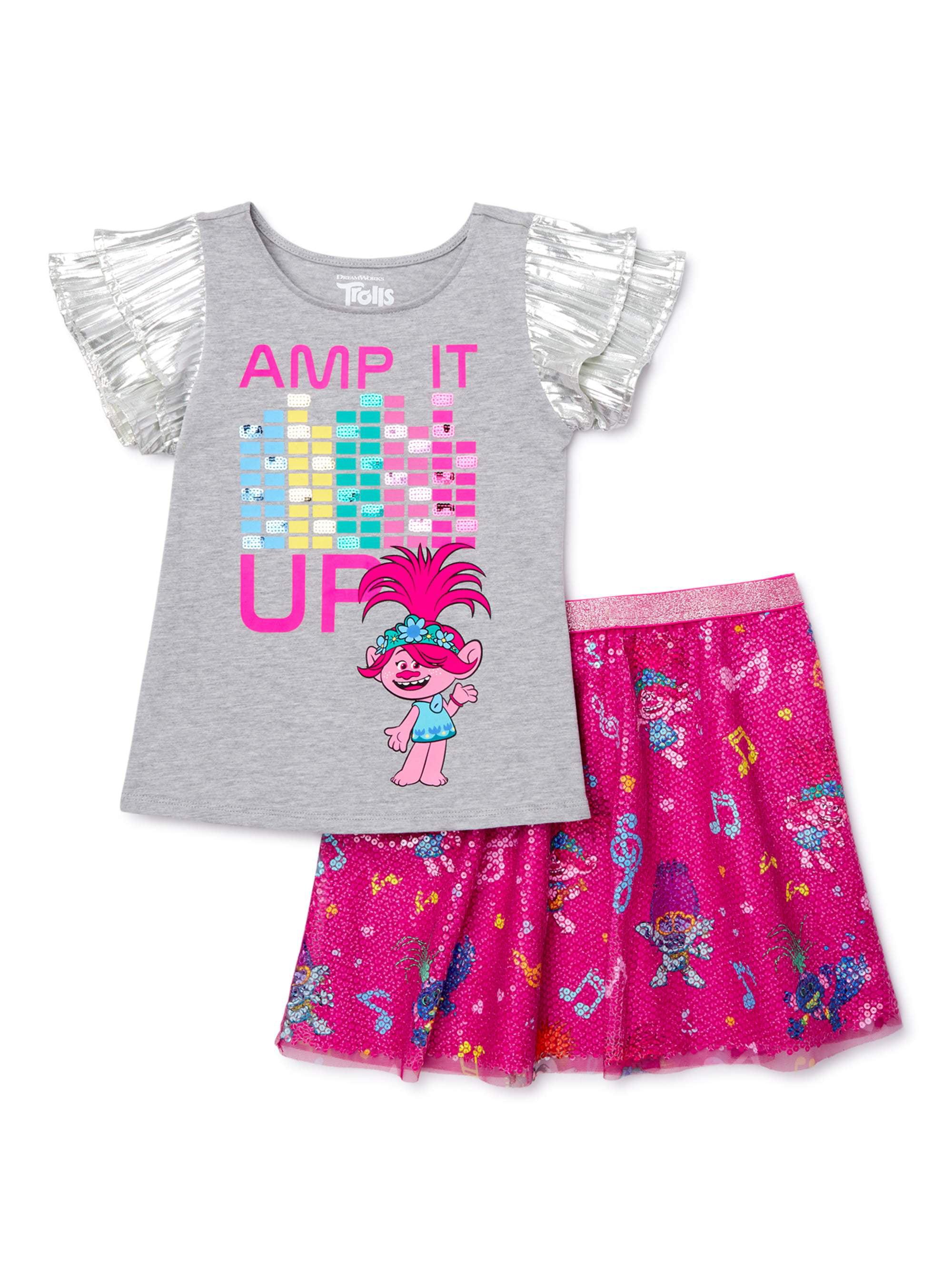 Gray//Multi Childrens Apparel DreamWorks Little Girls Trolls Two-Piece Legging Set 5