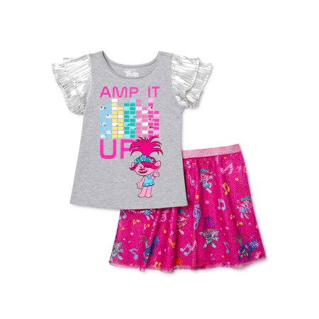 Trolls Girls 4-16 Music Life Rainbow T-Shirt and Skirt, 2-Piece Set Shirts And Skirts