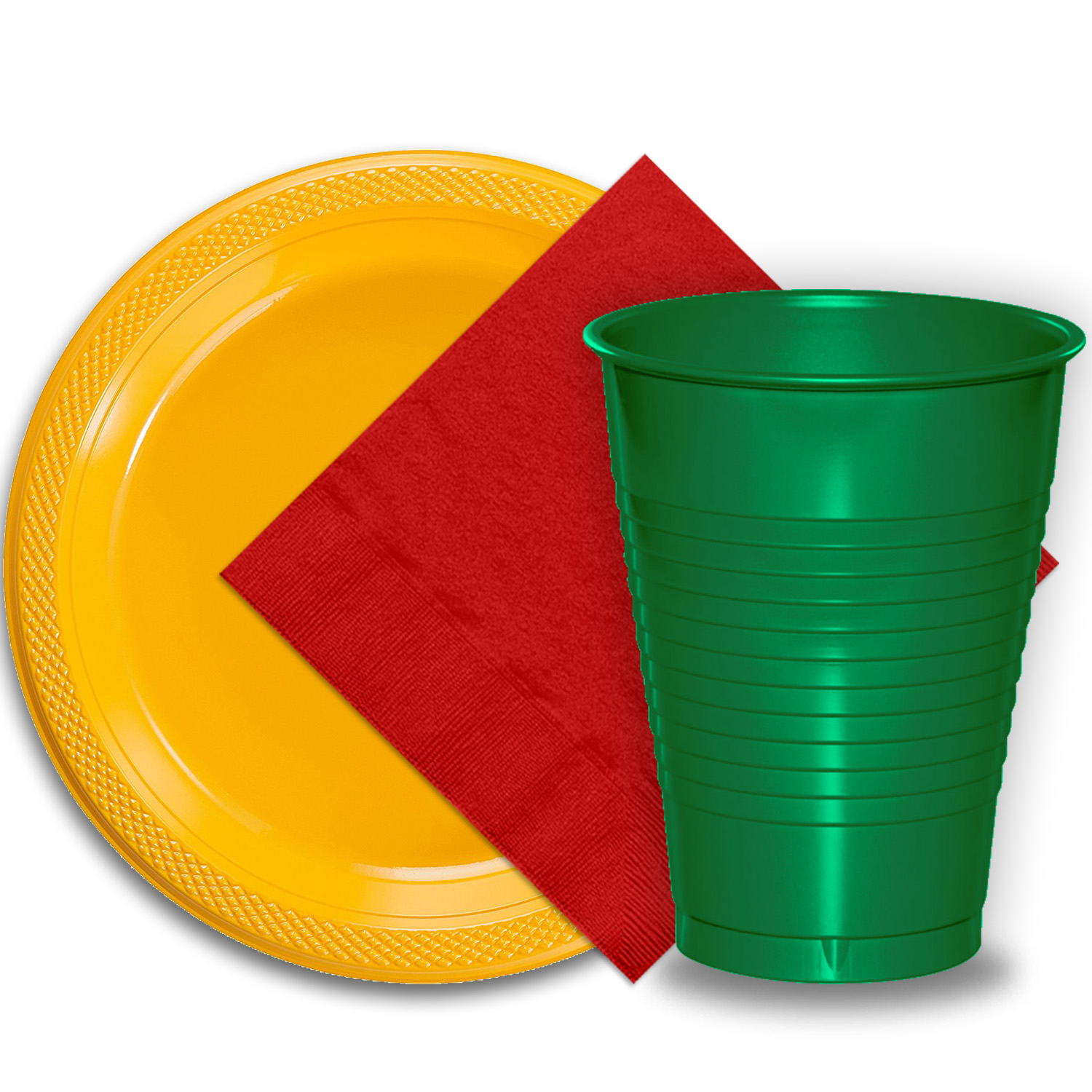 """50 Yellow Plastic Plates (9""""), 50 Emerald Green Plastic Cups (12 oz.), and 50 Red Paper Napkins, Dazzelling Colored Disposable Party Supplies Tableware Set for Fifty Guests."""