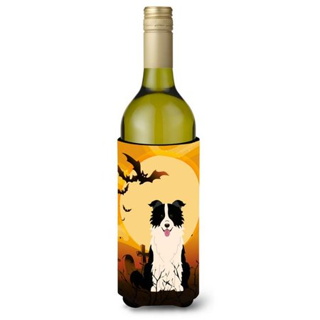 Halloween Border Clipart Black And White (Halloween Border Collie Black & White Wine Bottle Beverge Insulator)
