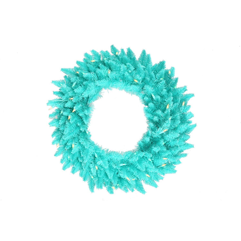 """30"""" Pre-Lit Aqua Blue Fir Artificial Christmas Wreath - Aqua Blue Lights"""