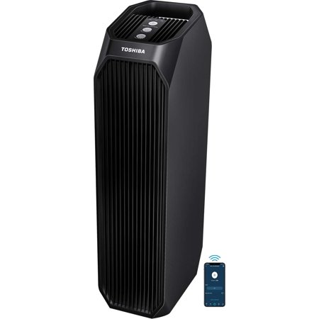 Toshiba Works with Alexa Smart WiFi Air Purifier, 3-in-1 True HEPA Air Cleaner, Designed for Allergies, Pollen, Pets, Odors, Smoke and Dust, Black – A Certified for Humans Device