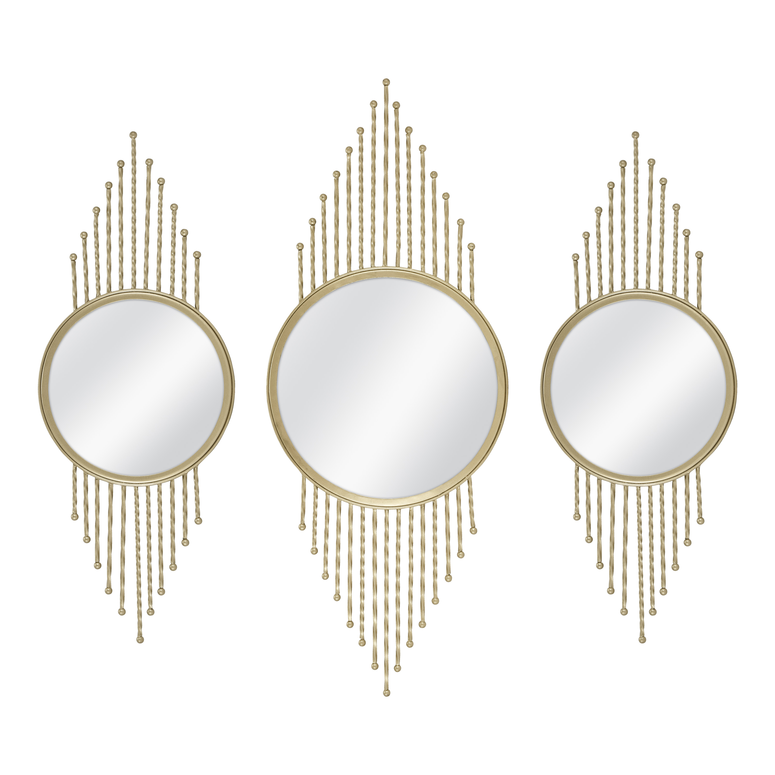 Stratton Home Decor Set Of 3 Gold Mirror Burst Wall Decor Walmart Com Walmart Com