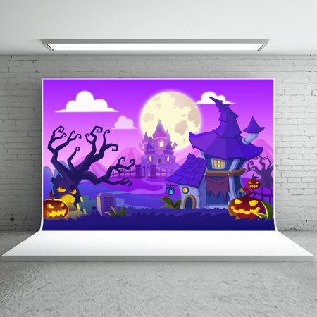 GreenDecor Polyster 7x5ft Happy Halloween Backdrops Photography Purple Background Castle Gold Pumpkin Cartoon for Children Photo Booth Props - Cute Happy Halloween Background