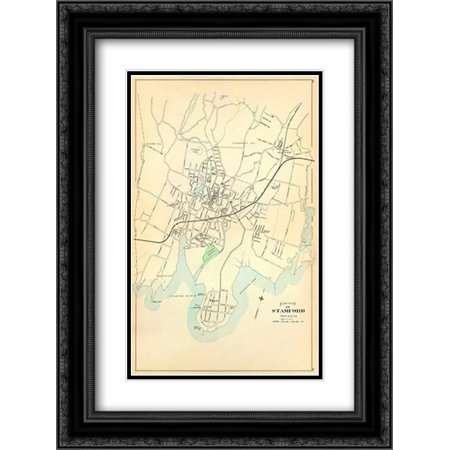 Stamford, Connecticut, 1893 2x Matted 18x24 Black Ornate Framed Art Print by Hurd and Co., (Black Connecticut Cigars)