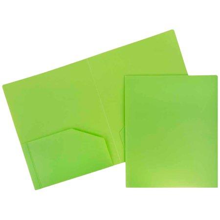 JAM Paper Heavy Duty Plastic Two Pocket Presentation Folders, Lime Green, 108/pack - Plastic Folders