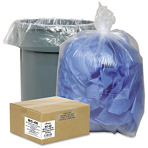 Classic Clear Opaque Brown/Black Low-Density Can Liners, 40-45 gal, 250 ct