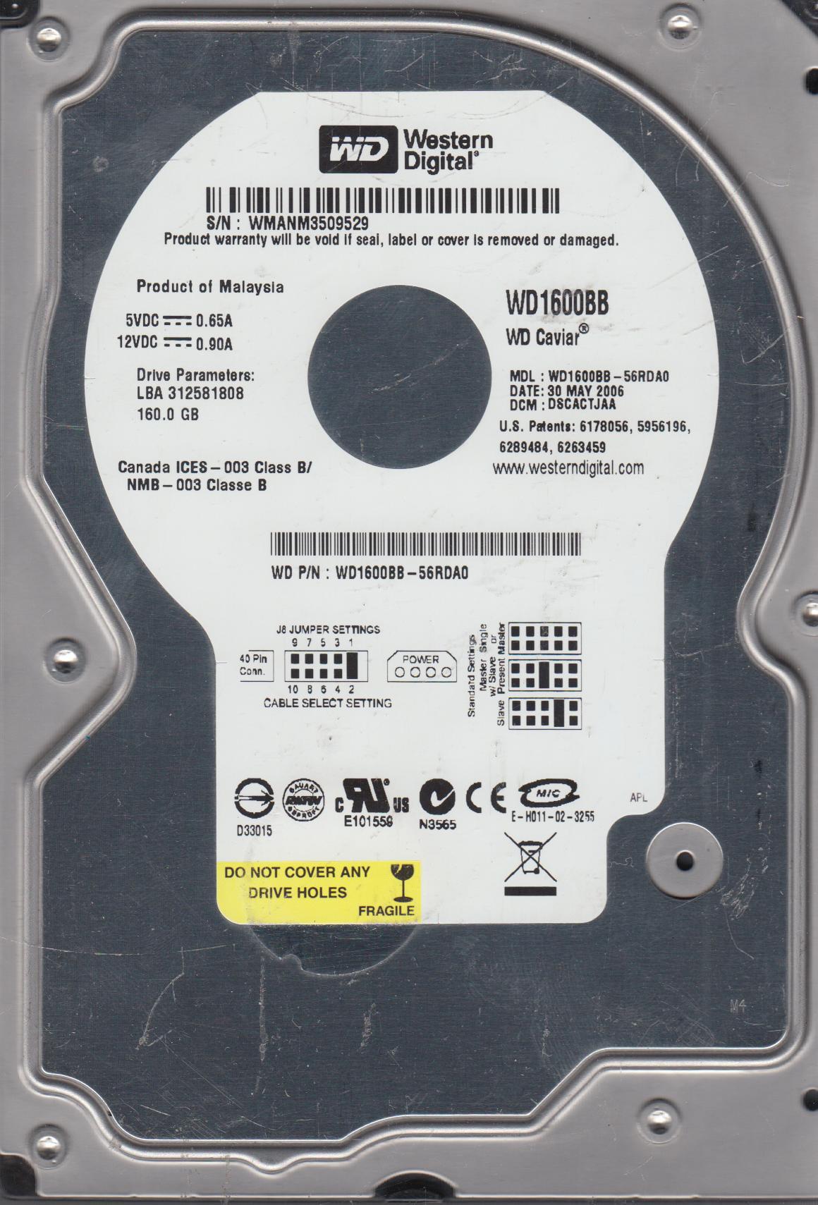 WD1600BB-56RDA0 160gb IDE Desktop Hard Drive