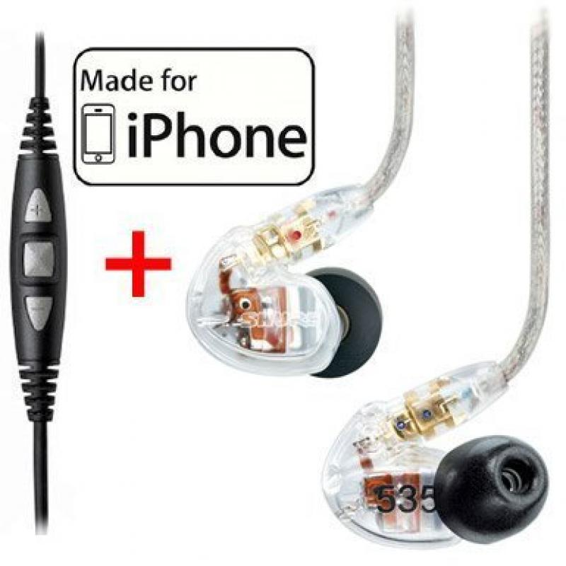 Shure SE535-CL Earphones, CBL-M+-K-EFS Music Phone Cable with Remote and Mic for iPhone, iPod and iPad by Shure