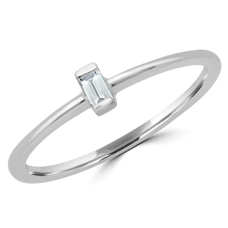 Majesty Diamonds MDR190086-4.75 0.05 CT Baguette Diamond Promise Solitaire Engagement Ring in 14K White Gold - Size 4.75
