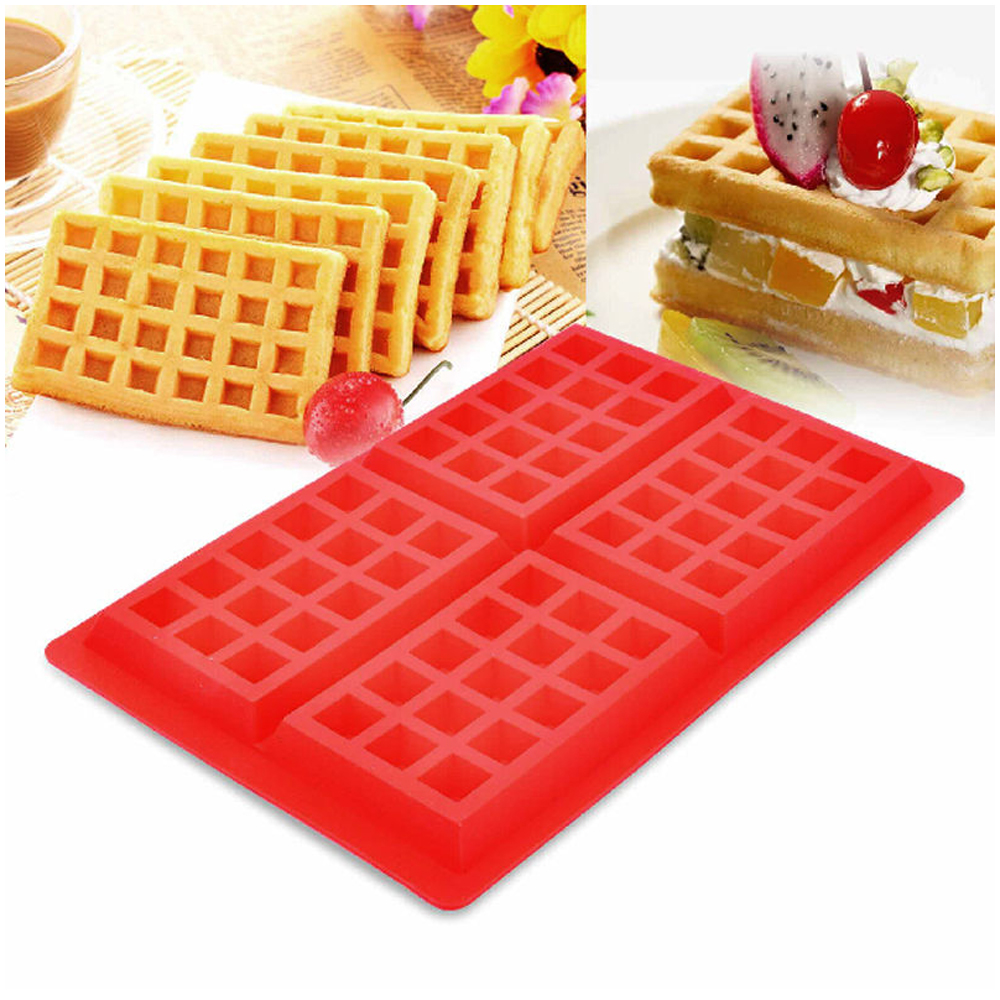 Belgian Large Silicone Waffle Baking Mold BPA Free Candy Soap 4Cavity Slice Pan by JMK IIT