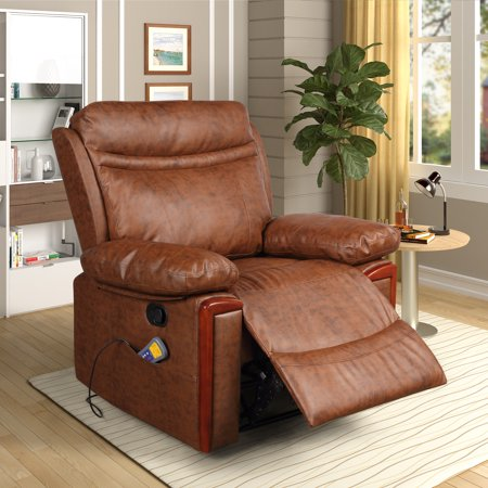 Merax PU Leather Power Massage Recliner with Remote Control, 8 Heat & Vibration Modes, Brown