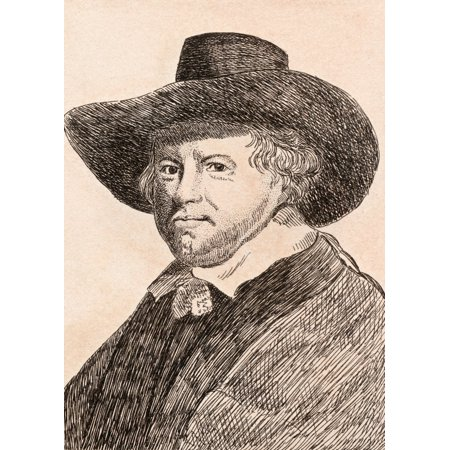 Image of Jan Van Goyen 1596-1656 Dutch Artist From 75 Portraits Of Celebrated Painters From Authentic Originals Etched By James Girtin Published London 1817 Canvas Art - Ken Welsh Design Pics (24 x 34)