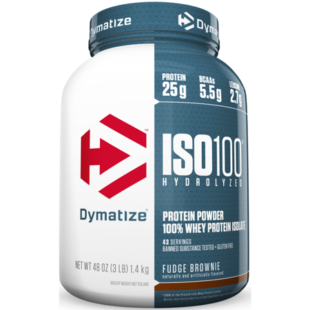 Dymatize ISO 100 Hydrolyzed 100% Whey Protein Isolate Powder, Fudge Brownie, 25g Protein/Serving, 3