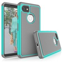 Google Pixel 2 XL Case, 2017 Google Pixel 2 XL Cute Case, Tekcoo [Tmajor] Shock Absorbing [Turquoise] Hybrid Combo Rubber Silicone Plastic Scratch Resistant Bumper Rugged Sturdy Grip Hard Cases Cover