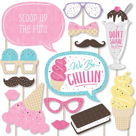 Scoop Up The Fun - Ice Cream - Sprinkles Party Photo Booth Props Kit - 20 Count  - Photo Booth Fun Props