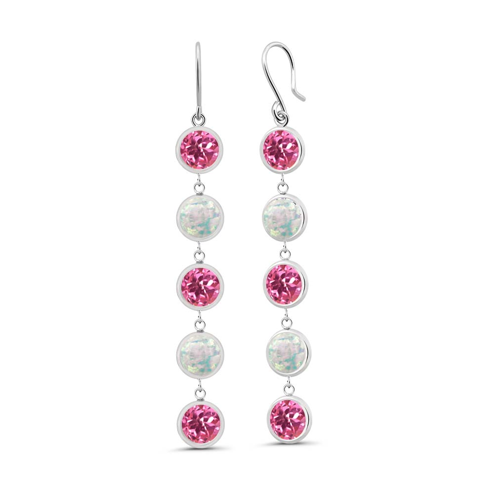 3.60 Ct Round Pink Mystic Topaz and Simulated Opal 925 Sterling Silver Earrings by