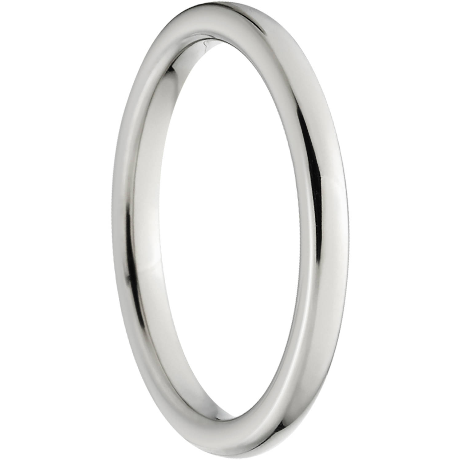 Polished 2mm Titanium Wedding Band with fort Fit Design