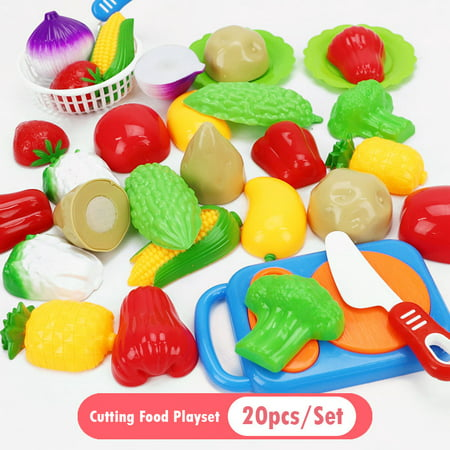 Cutting Cooking Food Playset, 20Pcs Kitchen Play Food Toys for Pretend Play Role-Play, Early Development Learning Toys with Carry Basket, Gift for Toddlers Boys and Girls ()