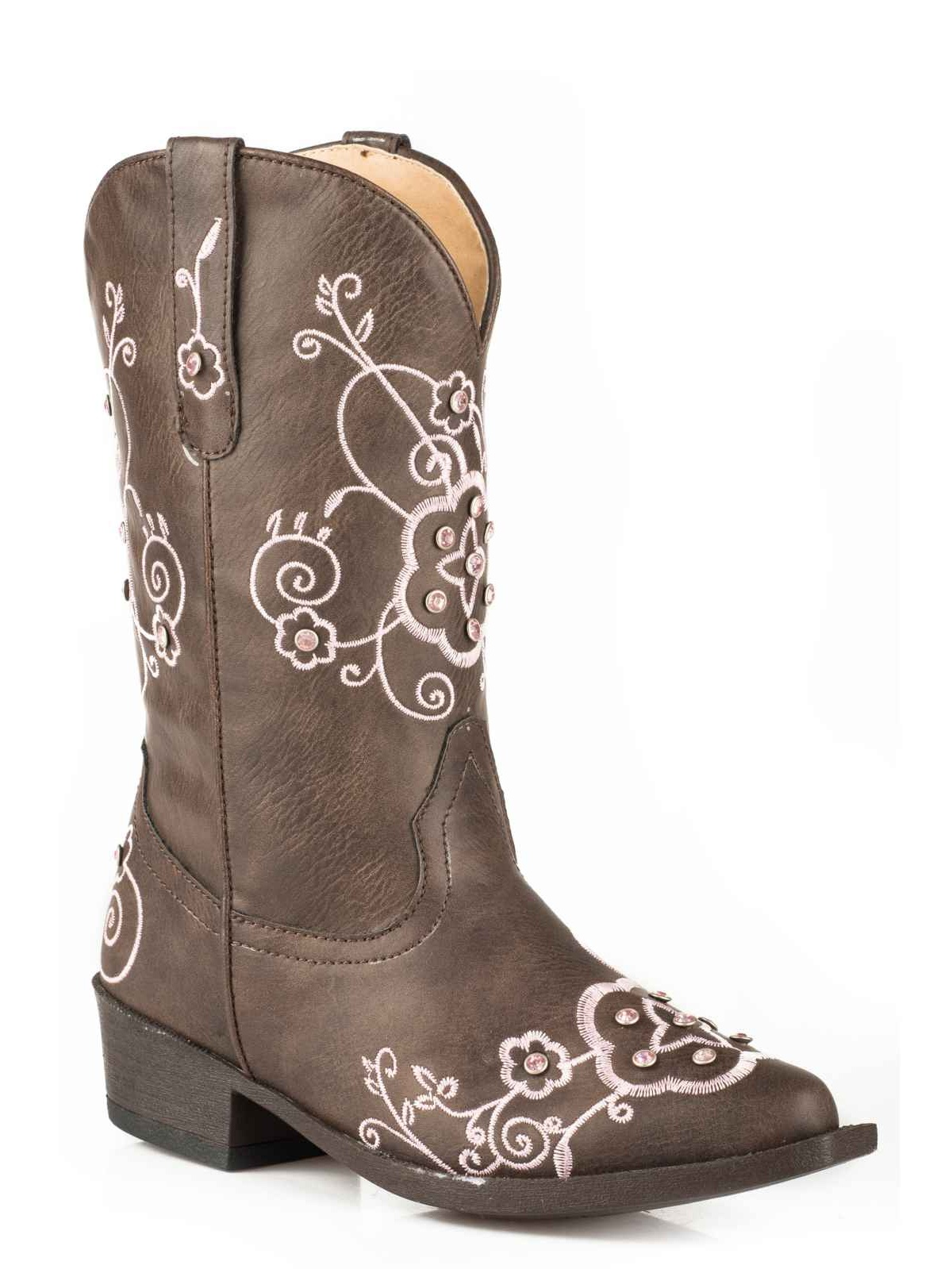 Roper Girls' Flower Sparkles Western Boot Br Pointed Toe - 09-018-1556-1139 Br Boot bdf5c2
