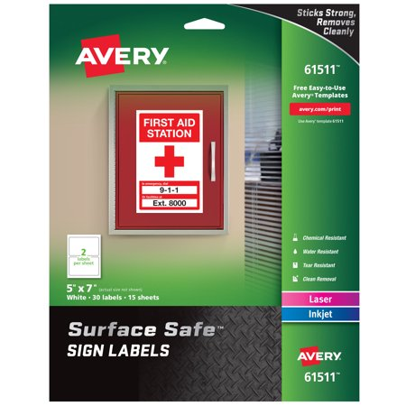 Avery Surface Safe Sign Labels, 5