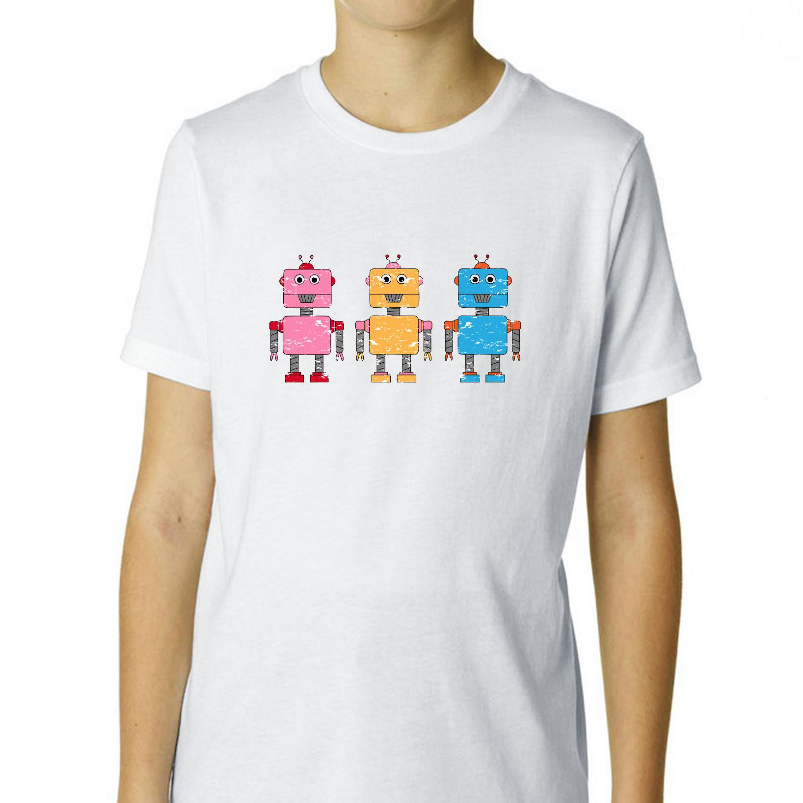 Cartoon Robots - Three Cute Colorful Boy's Cotton Youth T-Shirt