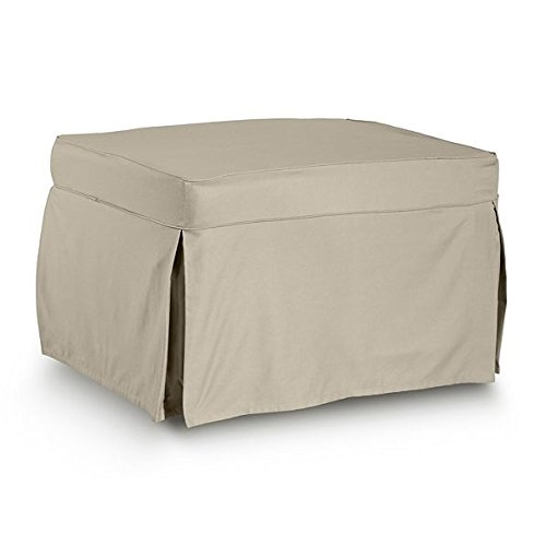 DermaPAD Deluxe Sleeper Ottoman Guest Bed ; Bonus Oversized Cover (Natural)