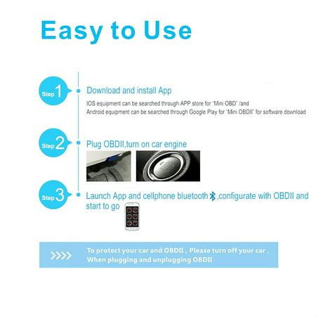 TOPONE Mini Bluetooth OBD2 OBDII Car Diagnostic Scanner Code